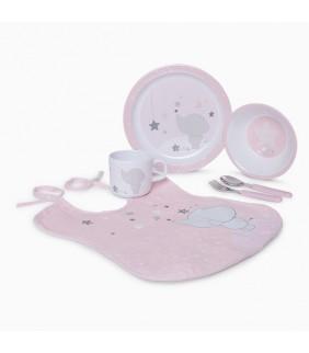 Vajilla 5 piezas + babero Weekend constellation rosa