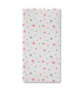 Muselina 120 x 120 bamboo Stars blanco/rosa