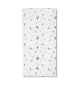 Muselina 120 x 120 bamboo Stars blanco/gris