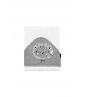 Toalla con capucha León b/gris