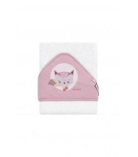 Toalla con capucha Fox b/rosa