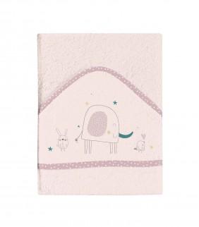 Toalla con capucha 100x100 Elefante Rosa