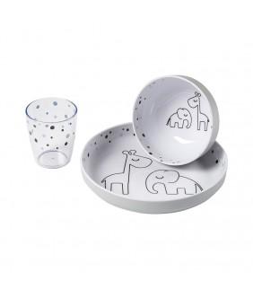 Vajilla 3 piezas Dreamy dots grey