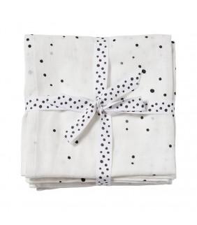Set 2 muselinas 120x120 Dreamy dots white