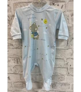 Pijama algodón basic celeste