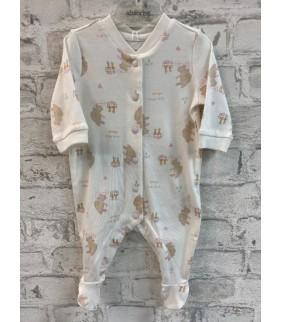 Pijama algodón basic conejitos cru/rosa