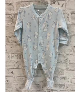 Pijama algodón basic azul ositos