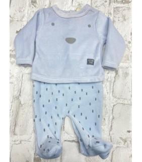 Pijama 2 piezas velour bear azul