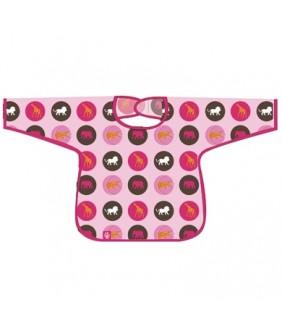 Babero plastificado con mangas Savannah pink