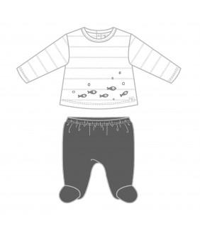 Pijama 2 piezas Fish negro