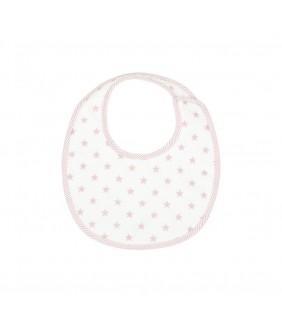 Babero redondo mini velcro Stela rosa