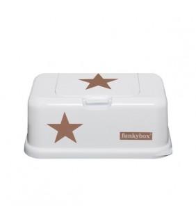 Funky box para toallitas blanco estrella marrón