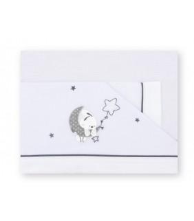 Sábanas cuna 70x140 Luna blanco/gris