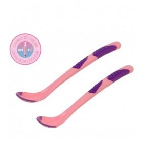 Set 2 cucharas silicona con sensor calor rosa