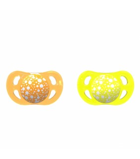 2 Chupetes Twistshake amarillo y naranja 0-6m